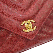 CHANEL Quilted CC Fringe Chain Shoulder Bag Red