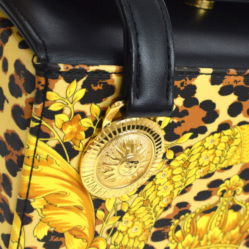 GIANNI VERSACE Leopard Hand Bag Yellow Brown Black