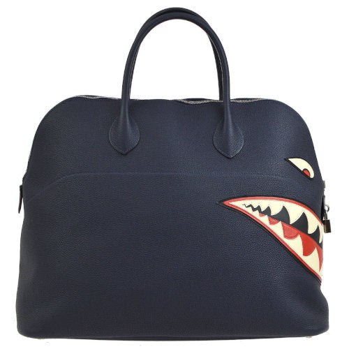 HERMES BOLIDE SHARK 45 Hand Bag Togo Navy