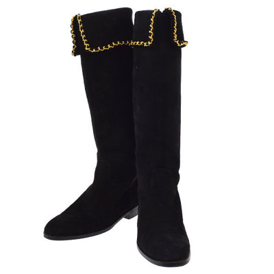 CHANEL Gold Chain Long Boots Shoes Black Suede #37
