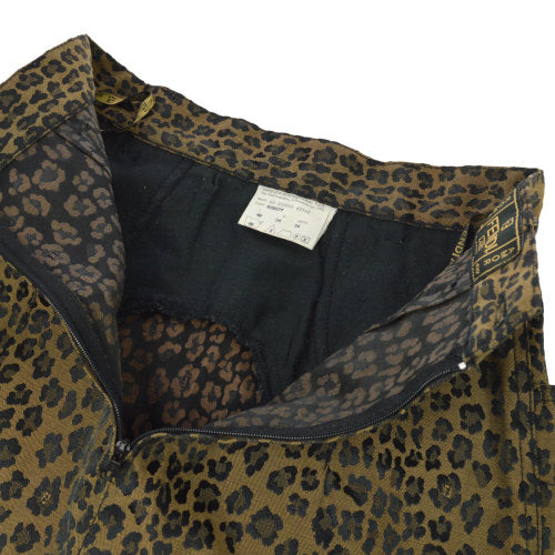FENDI Leopard Pattern Skirt Brown Black