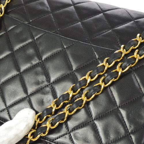 CHANEL Quilted CC Double Chain Shoulder Bag Black