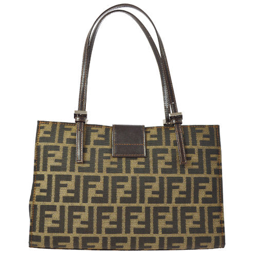 FENDI Quilted Zucca Shoulder Tote Bag Brown Black