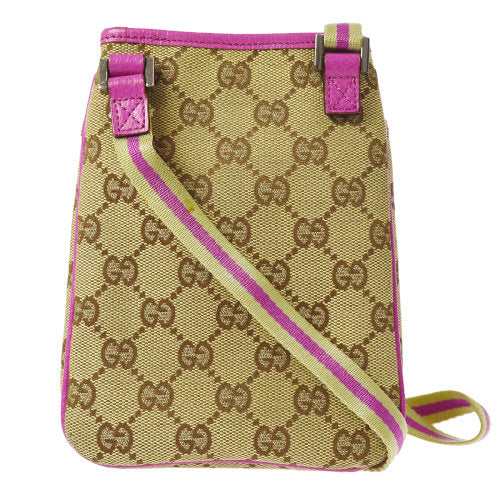 GUCCI GG Pattern Shoulder Bag Pochette Beige Pink