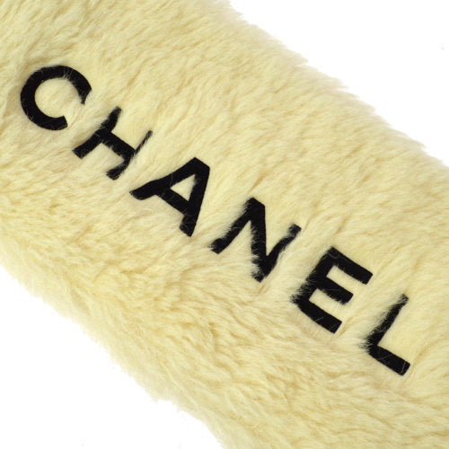 CHANEL Vintage CC Logos Fur Stole Ivory