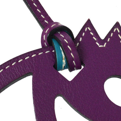 HERMES Vintage Paddock Horse Head Bag Charm Purple