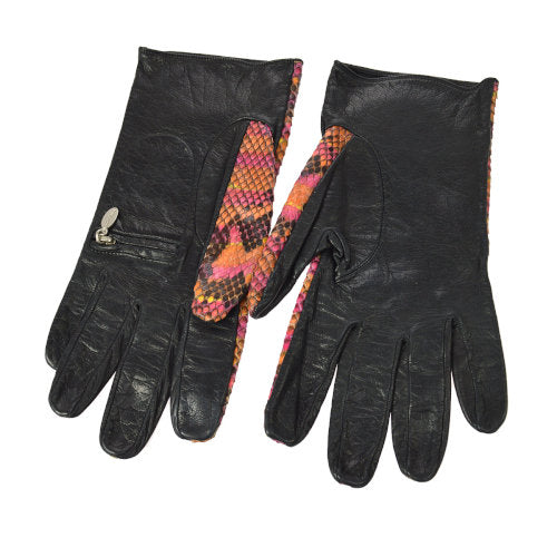 CHANEL Logos Ladies Gloves Orange Pink Python 7 1/2