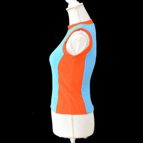 CHANEL CC Sleeveless Tops Summer Knit Blue Orange #36 02S