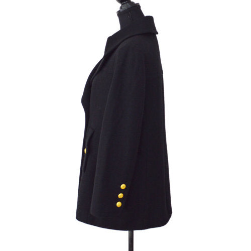 CHANEL Long Sleeve Coat Jacket Black #42