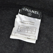 CHANEL Logos Long Pants Charcoal Gray Beige #38 02A