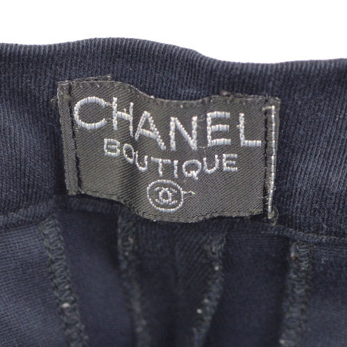 CHANEL button Long Pants Navy Gold