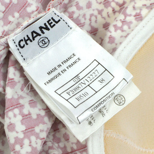 CHANEL Sleeveless Swimwear Swimsuit Red #38 03P