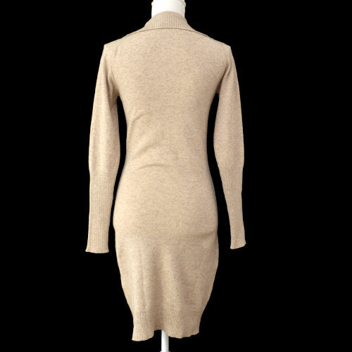HERMES Long Sleeve One Piece Dress Brown #34