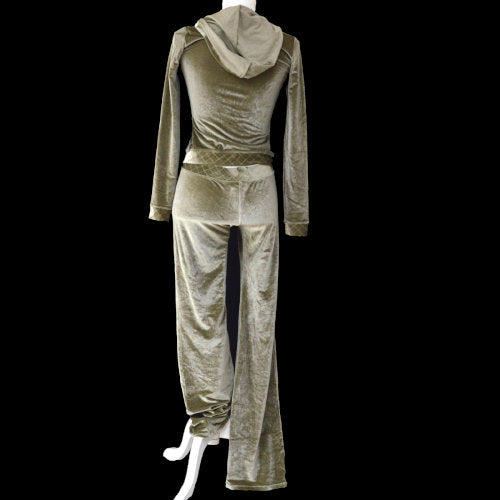 CHANEL Zip Up Setup Long Sleeve Pants Metallic Brown