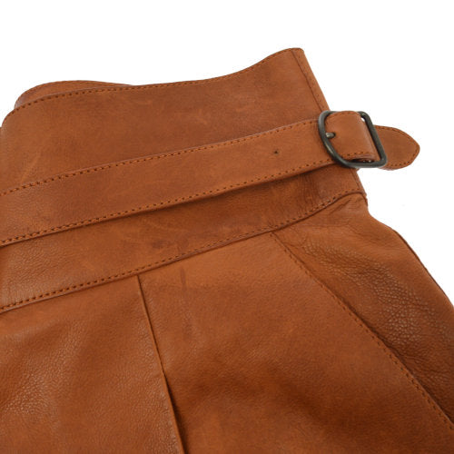 HERMES Pants Culottes Brown Calf Skin #38