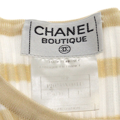 CHANEL Short Sleeve Knit Tops White #42