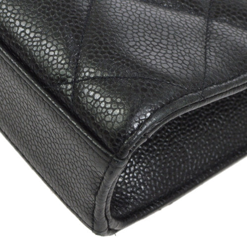 CHANEL Quilted CC Business Hand Bag Black Caviar