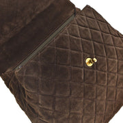 CHANEL Kelly Quilted Hand Bag Dark Brown Suede