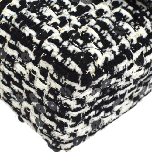 CHANEL Quilted Spangle Hand Bag Black White Tweed