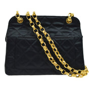 CHANEL Quilted Double Chain Shoulder Bag Black Satin