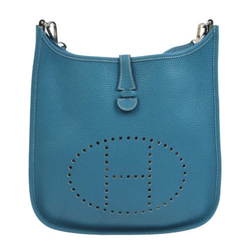 HERMES EVELYNE PM Shoulder Bag Light Blue Togo