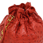 CHANEL Chain Drawstring Shoulder Bag Red Ostrich
