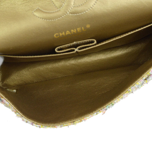 CHANEL Insect Rhinestone Spangle Classic Double Flap Medium Shoulder Bag Tweed