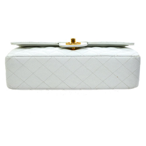 CHANEL Quilted Classic Double Flap Medium Shoulder Bag White Caviar