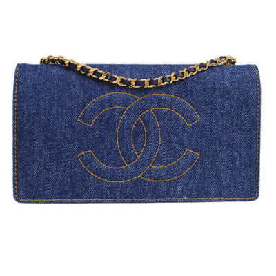 CHANEL Woc CC Logos Chain Shoulder Wallet Bag Indigo Denim