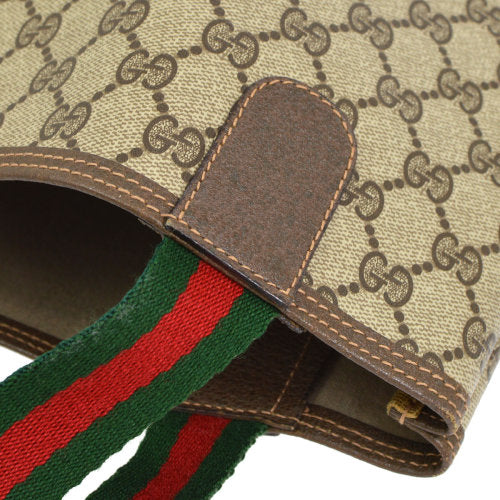 GUCCI GG Pattern Shelly Line Shoulder Tote Bag Brown