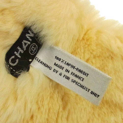 CHANEL CC Logo Bangle Wristband White Lapin Fur