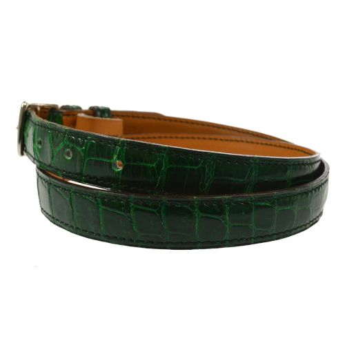 HERMES Buckle Belt Green Porosus Crocodile Skin