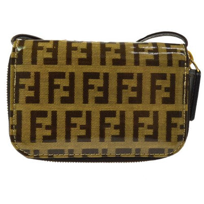 FENDI Zucchino Pattern Coin Case Pochette Wallet Brown Patent Leather