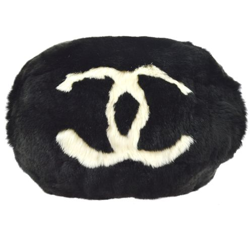 CHANEL CC Chain Arm Sleeve Shoulder Bag Black White Lapin Fur