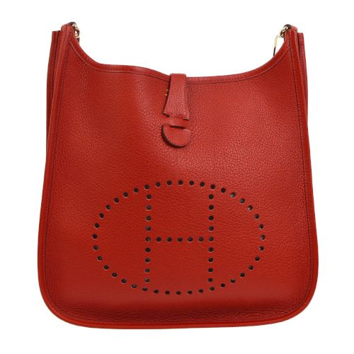 HERMES EVELYNE PM Shoulder Bag Red Veau Crispe Togo