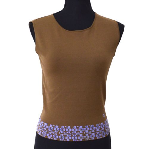 CHANEL CC Logos Sleeveless Tops Shirt Brown #36 01P