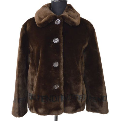 FENDI Logos Long Sleeve Fur Coat Dark Brown Black