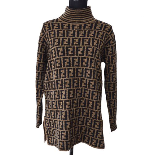 FENDI Vintage Zucca Pattern Long Sleeve Sweater Brown Black
