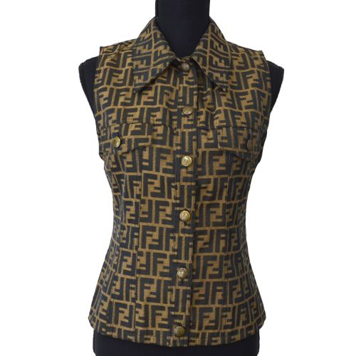 FENDI Vintage Zucca Pattern Sleeveless Tops Brown Black