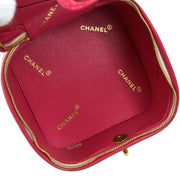 CHANEL Quilted CC Cosmetic Vanity Hand Bag Pink