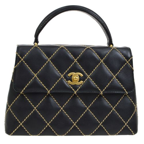 CHANEL Kelly Wild Stitch CC Logos Hand Bag Black