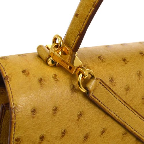 HERMES 2way Hand Bag Camel Ostrich