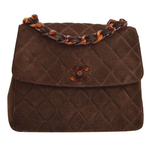 CHANEL Quilted CC Plastic Chain Shoulder Bag Dark Brown