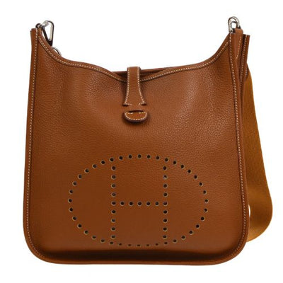 HERMES EVELYNE PM Shoulder Bag Gold Taurillon Clemence