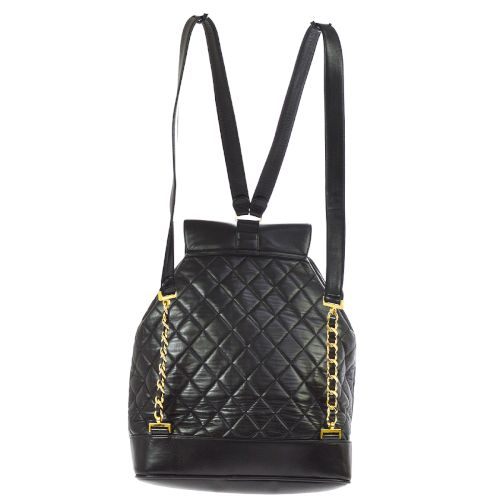 CHANEL Quilted CC Logos Chain Backpack Bag Black