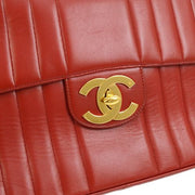 CHANEL Quilted Classic Flap Maxi Shoulder Bag Red