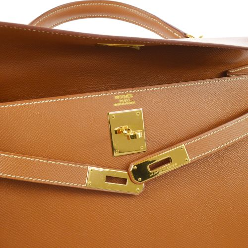 HERMES KELLY 32 SELLIER 2way Hand Bag Brown Veau Greine Courchevel