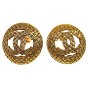 CHANEL Vintage CC Logos Button Earrings Clip-On