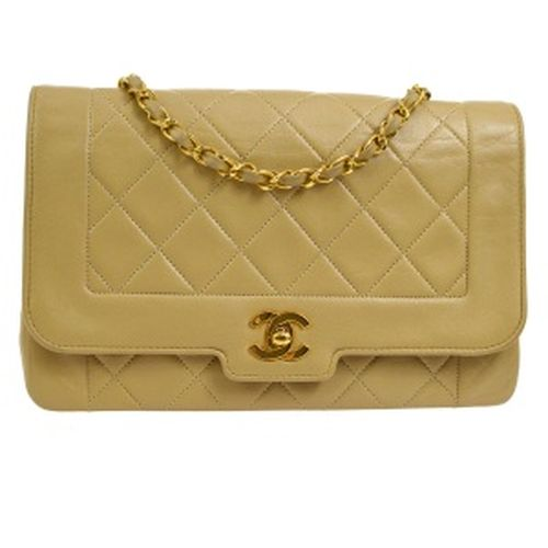 CHANEL Quilted Classic Single Flap Medium Shoulder Bag Beige