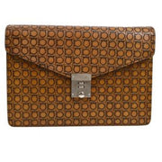 Salvatore Ferragamo Gancini Clutch Hand Bag Brown